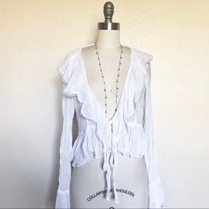 Vintage Boho Sheer Peasant Blouse